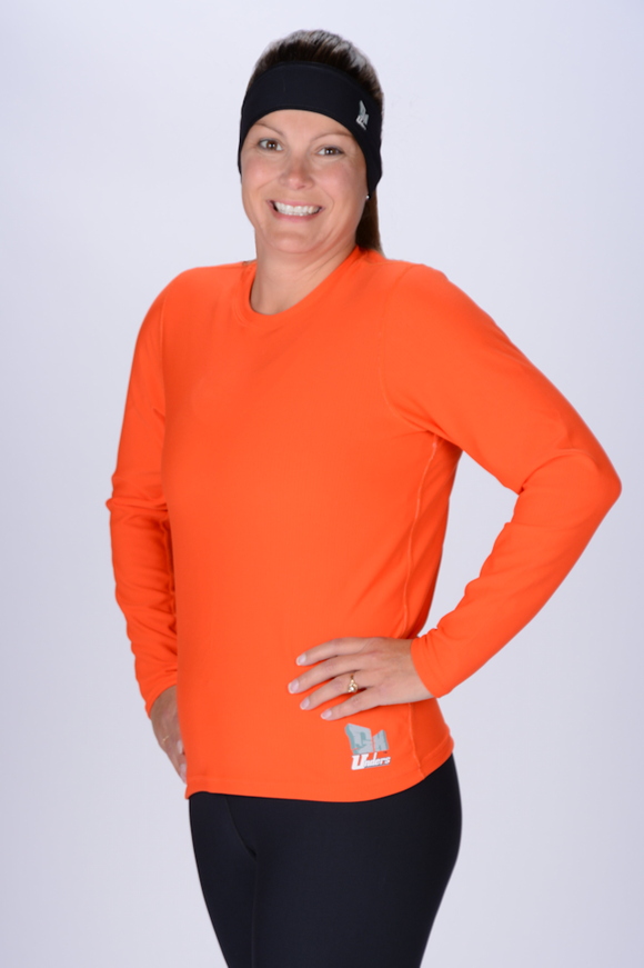 Orange Top Long Sleeve Crew Neck Women's
