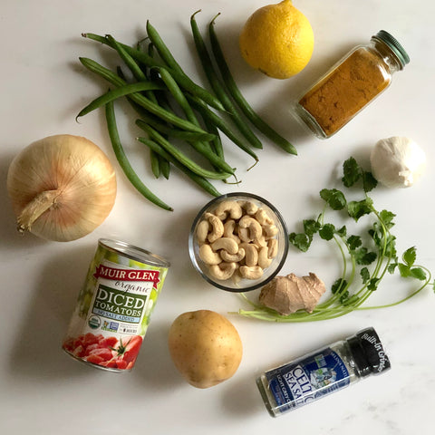 karma nuts raw jumbo cashews cauliflower green beans and potato curry ingredients recipe