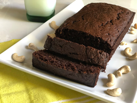 Chocolate raw Karma Nuts cashew Zucchini quick bread recipe