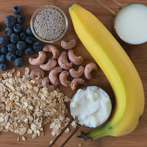 Banana blueberry overnight oats recipe karma nuts wrapped cashews ingredients