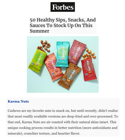 Forbes feature karma nuts snacks