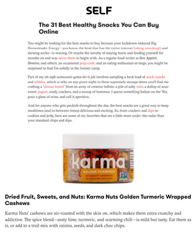 self magazine karma nuts turmeric cashews best snacks to buy online