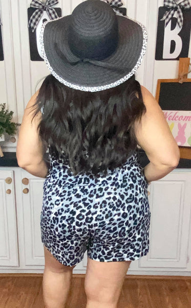 LEOPARD PRINT SLEEVELESS ROMPER WITH POCKETS