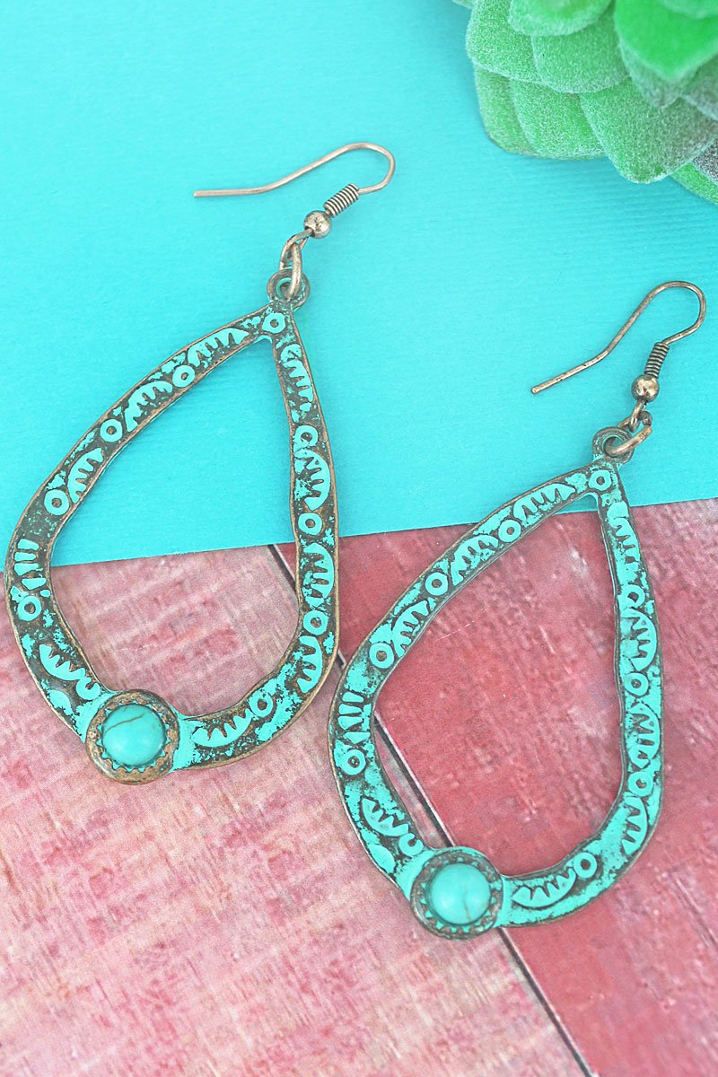 PATINA WITH TURQUOISE BEAD TEARDROP EARRINGS