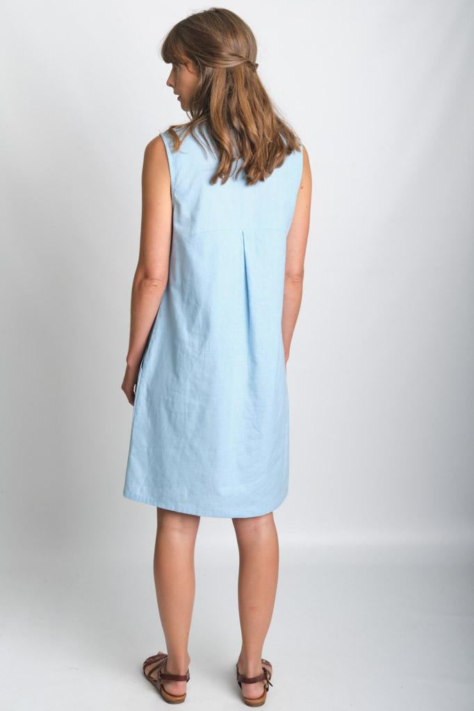 Bibico Alina Blue Sleeveless Shirt Dress