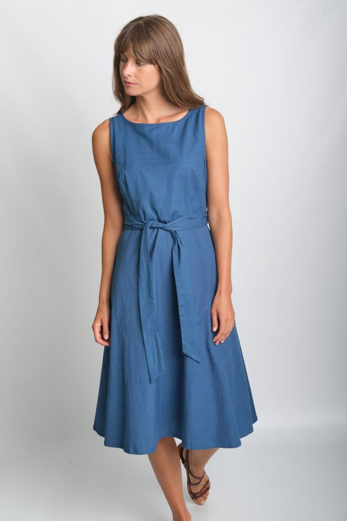 Bibico Grace Blue Sleeveless Swing Dress