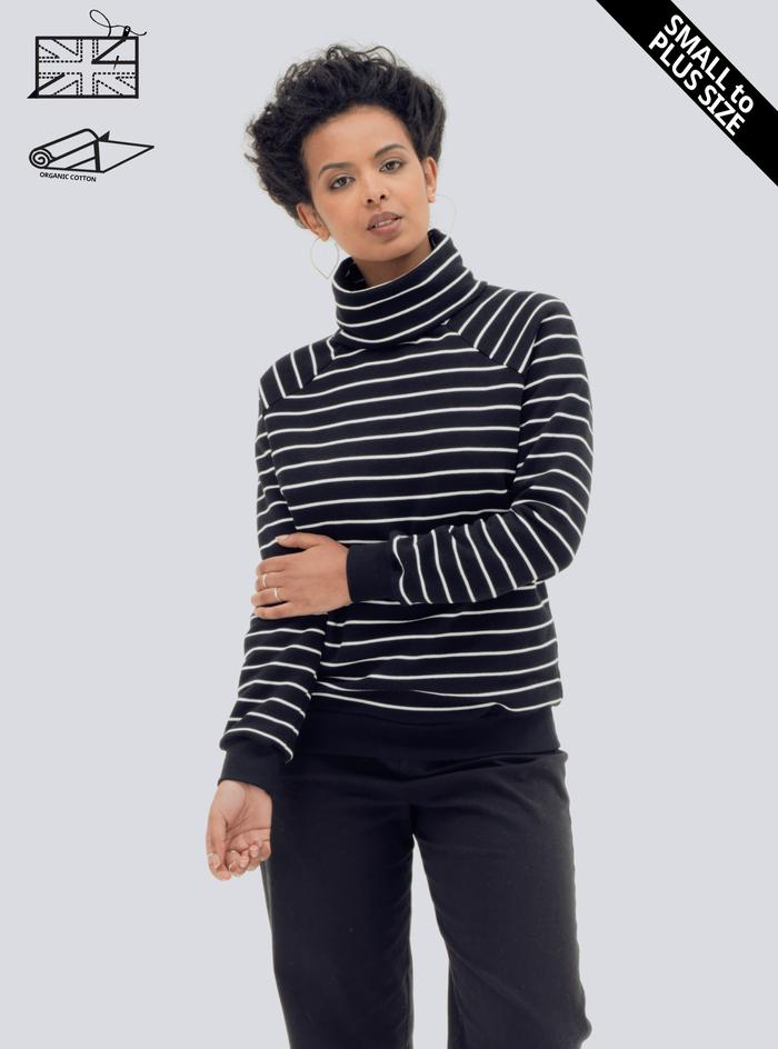 Zola Amour Organic Cotton Striped Jumper in Black and White