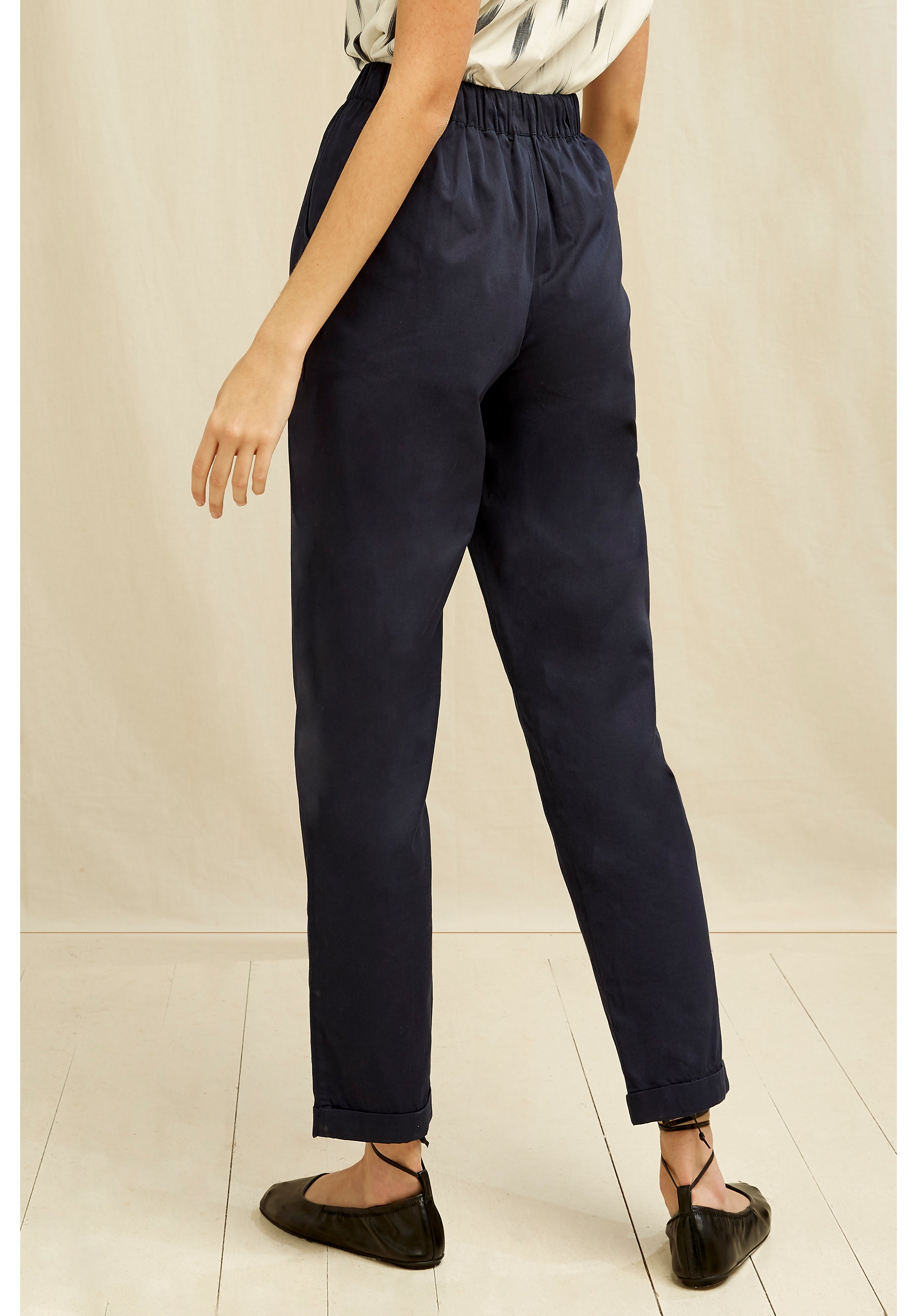 People Tree Tinsley Tapered Trousers in Navy