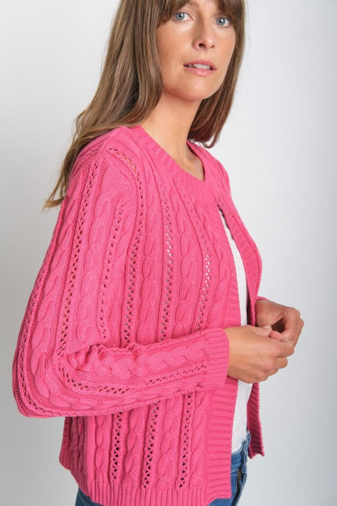 Kate Watermelon Cropped Aran Cotton Cardigan