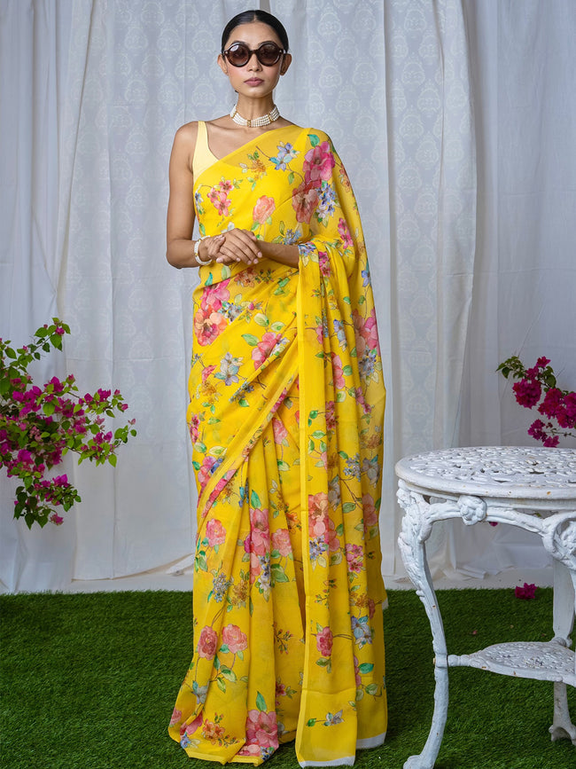 Yellow floral chiffon saree set