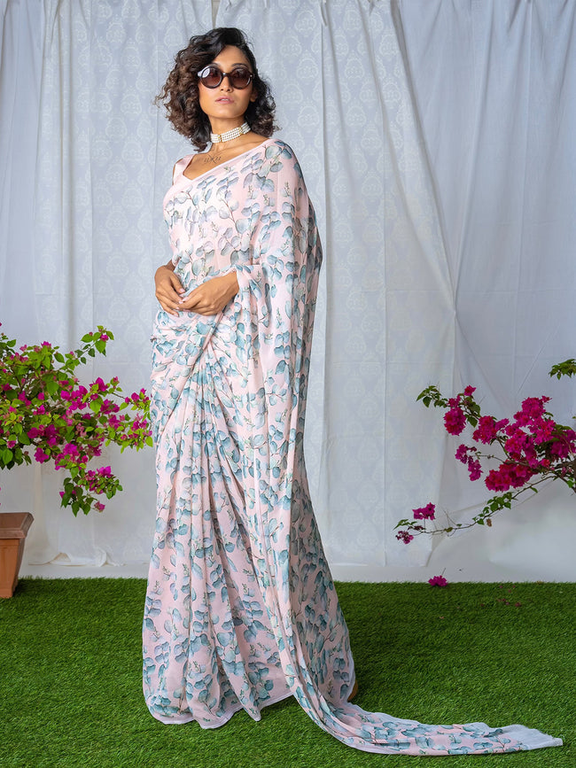 Pale pink floral chiffon saree set