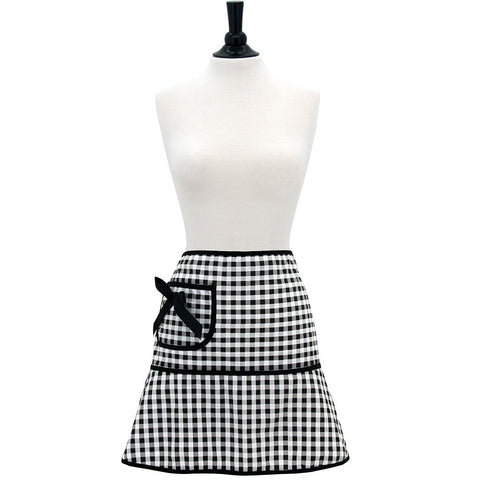 Black & White Gingham Carmen Cocktail Apron