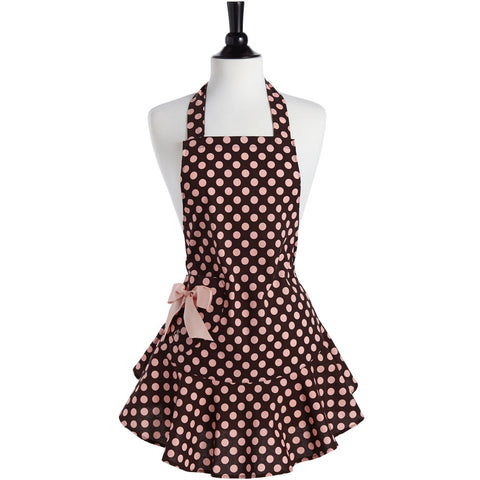 Brown and Pink Polka Dot Josephine Apron