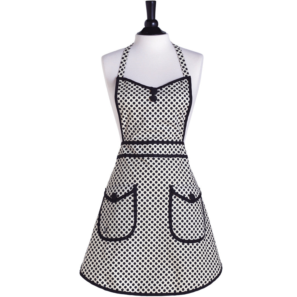 White and Black Deco Dot Audrey Apron