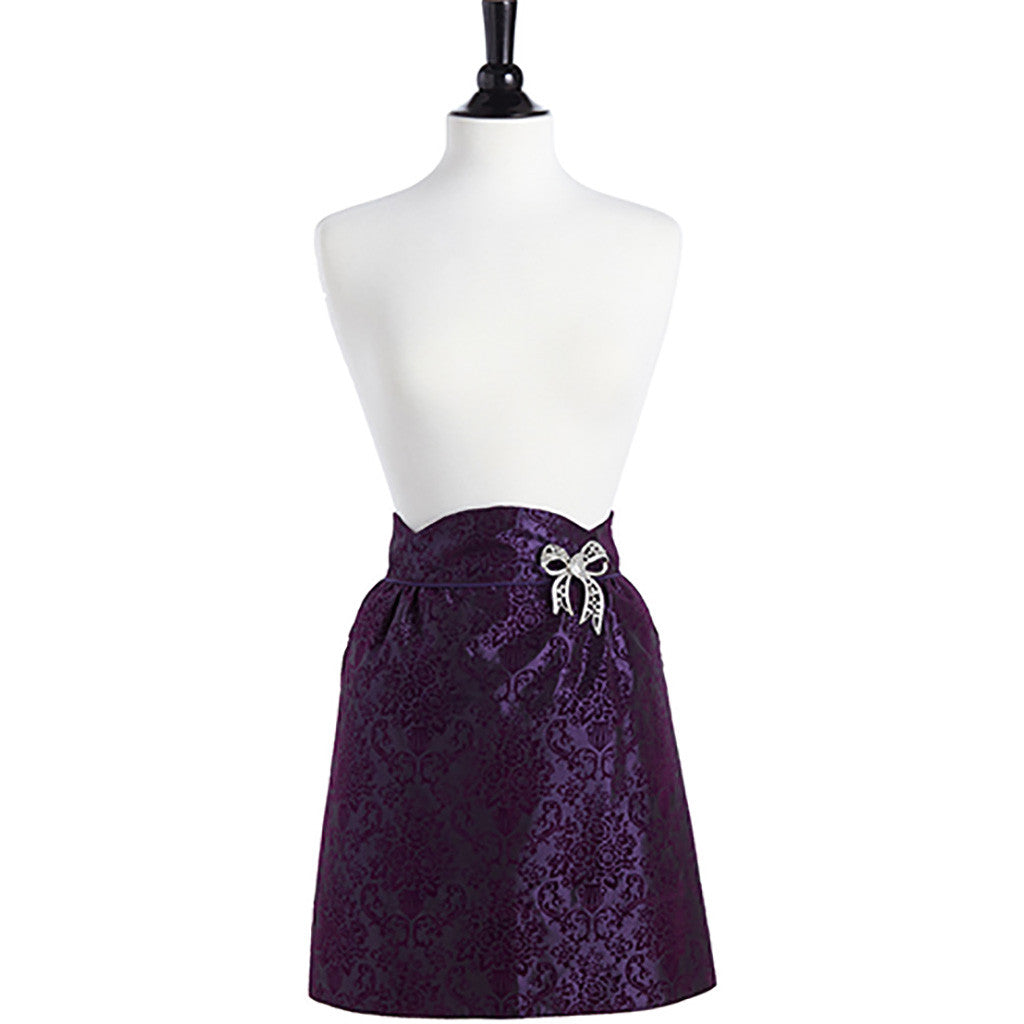 Flocked Purple Bouquet Damask June Half Apron