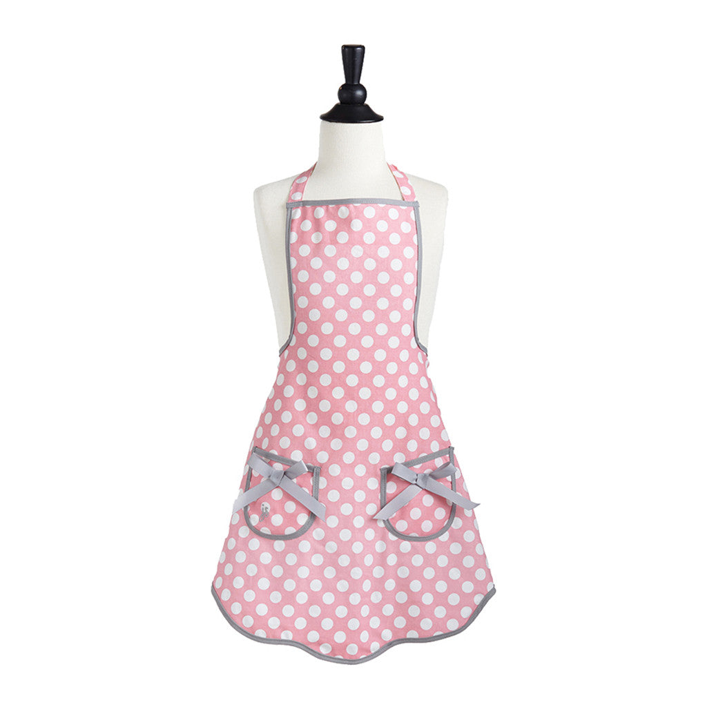 Rosy Pink Polka Dot Child's Ava Apron