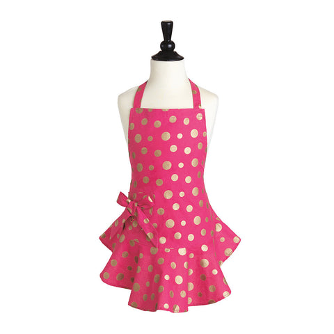 Pink & Gold Retro Polka Dot Child's Josephine Apron