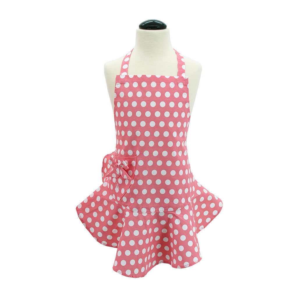 Geranium Pink and White Polka Dot Child's Josephine Apron