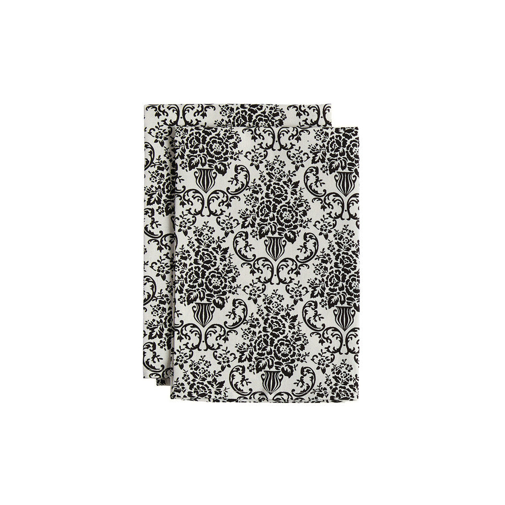 Cream and Black Bouquet Damask Cloth Napkin