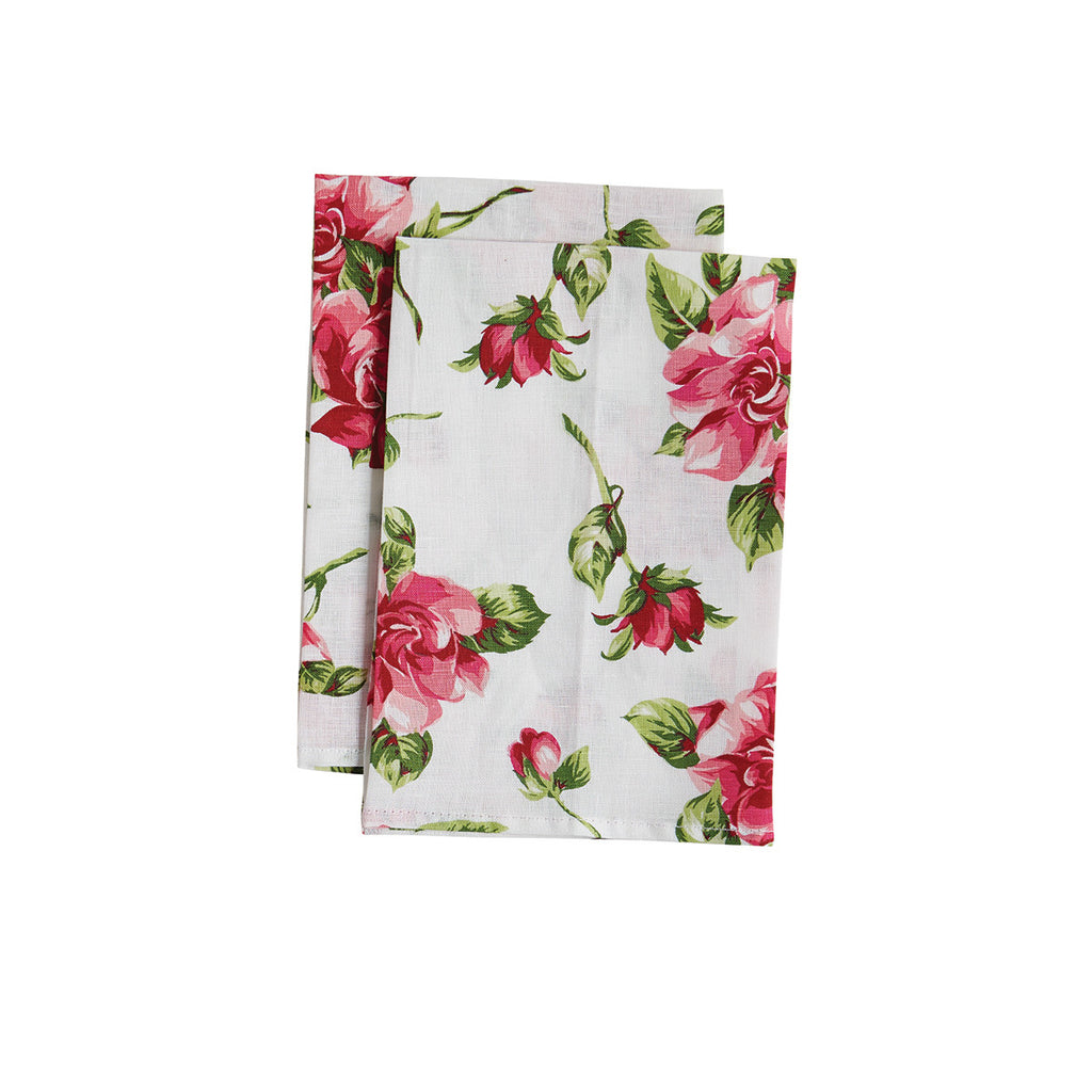 Pink Magnolias White Cloth Napkin
