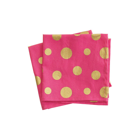 Pink & Gold Retro Polka Dot Cloth Cocktail Napkin Set