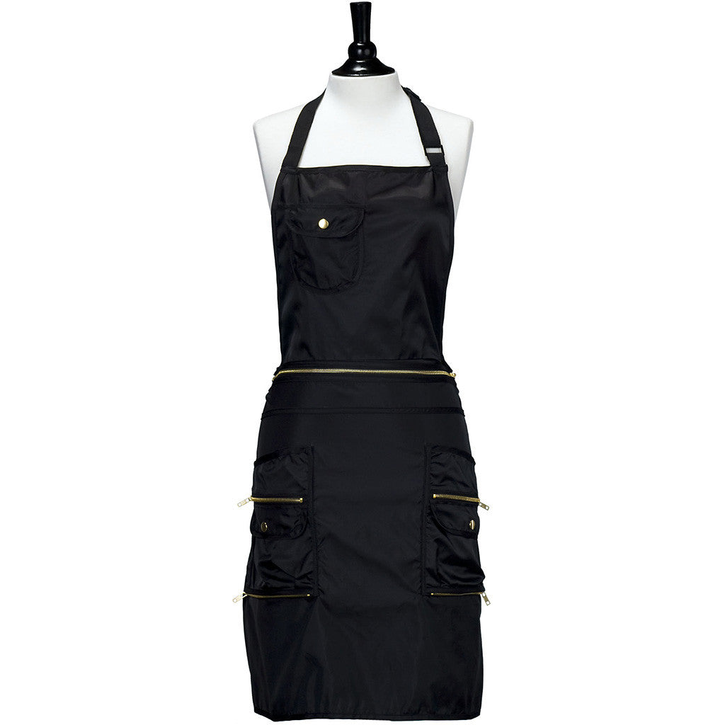 Black Convertible Apron with Gold Zipper