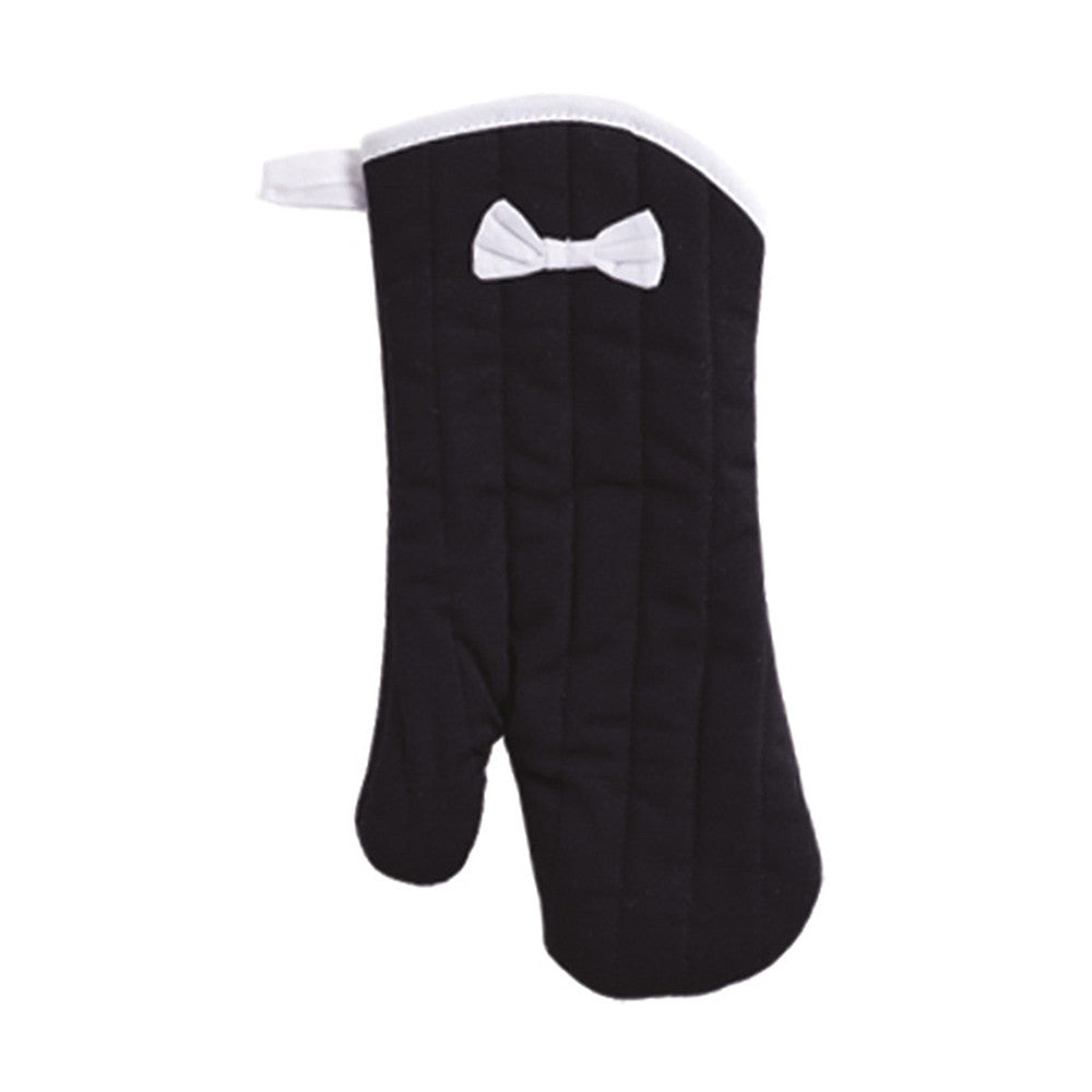 Black with White Bias Oven Mitt