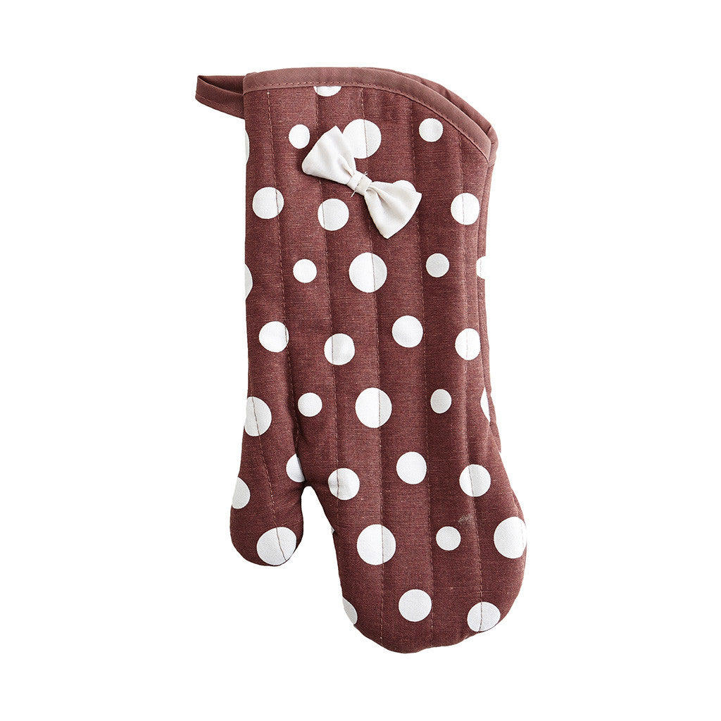Brown & White Retro Polka Dot Oven Mitt