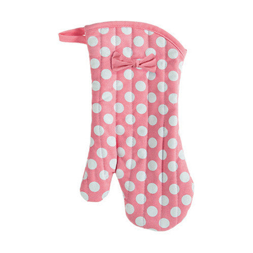 Geranium Pink and White Polka Dot Oven Mitt