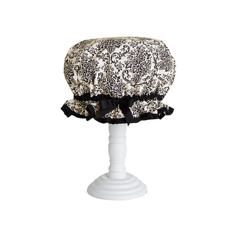 Cream and Black Bouquet Damask Shower Cap
