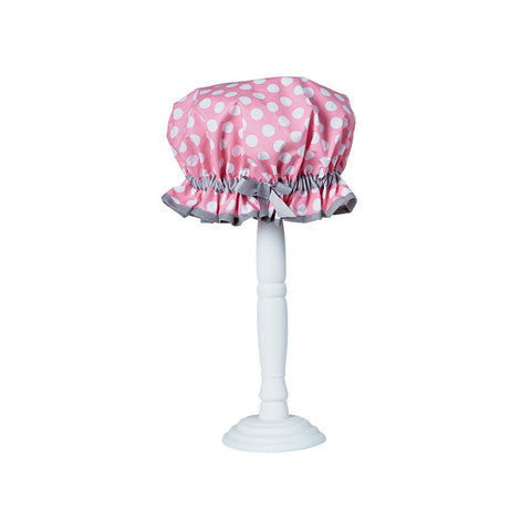 Rosy Pink Polka Shower Cap