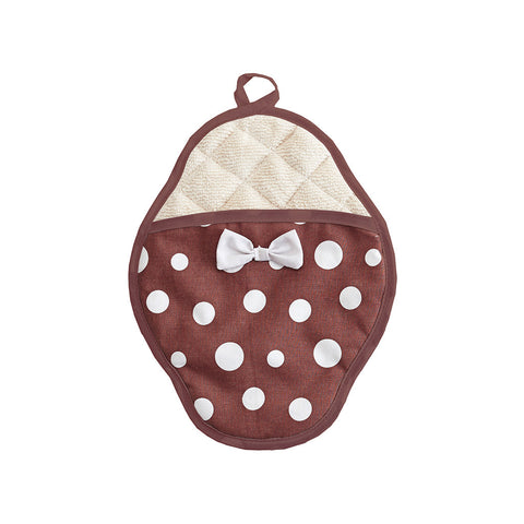 Brown & White Retro Polka Dot Scalloped Pot Mitt