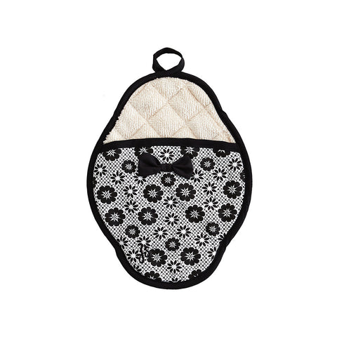 Black & White Floret Scalloped Pot Mitt