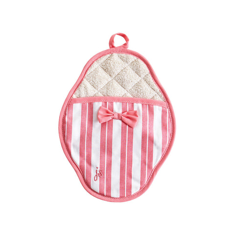 Pink Stripe Scalloped Pot Mitt
