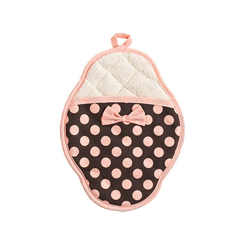 Brown and Pink Polka Dot Scalloped Pot Mitt