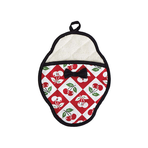 Diamond Cherries Scalloped Pot Mitt
