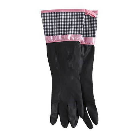 Black and White Gingham Rubber Gloves