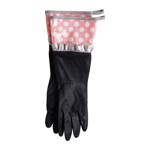 Rosy Pink Polka Dot Rubber Gloves