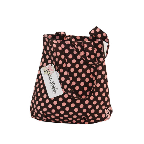 Brown and Pink Polka Dot Tote Bag