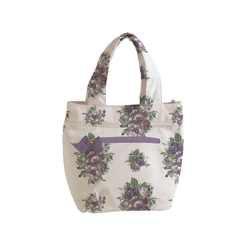 Vintage Floral Purple Insulated Travel Tote