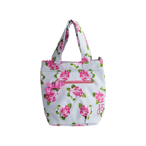Peony Stripe Insulated Lunch Tote