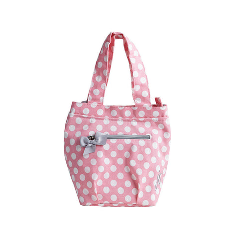 Rosy Pink Polka Dot Insulated Lunch Tote
