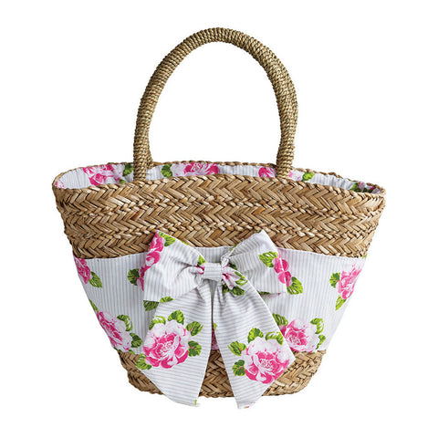 Peony Stripe Seagrass Market & Beach Bag