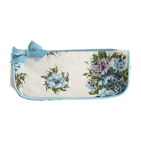 Vintage Floral Blue Brush Cosmetic Bag