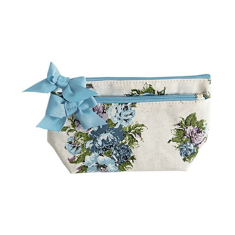 Vintage Floral Blue Petite Cosmetic Bag