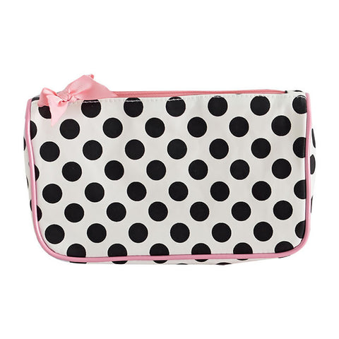 Cream and Black Polka Dot Generous Cosmetic Bag