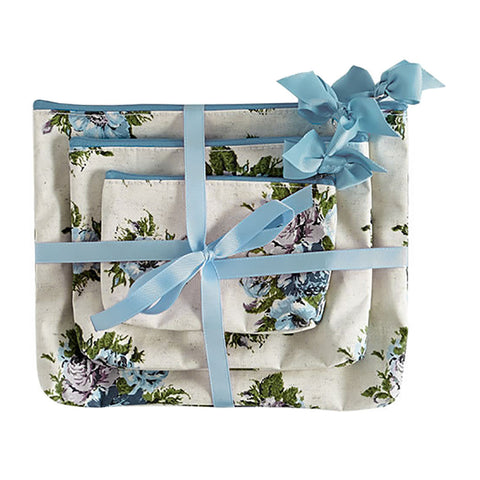 Vintage Floral Blue 3pc Cosmetic Bag Gift Set