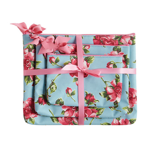 Pink Magnolias 3pc Cosmetic Bag Gift Set