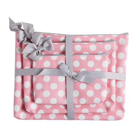 Rosy Pink Polka 3pc Cosmetic Bag Gift Set