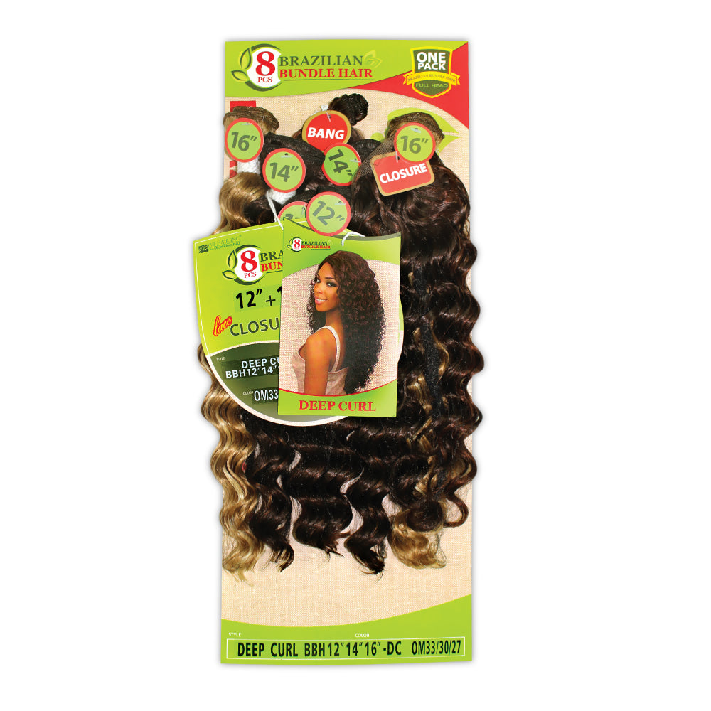8 PIECES BRAZILIAN BUNDLE HAIR  DEEP CURL